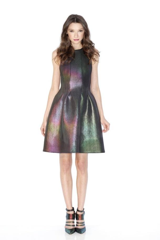 Cynthia Rowley's Neoprene dress and Rebecca Minkoff's strappy shoe